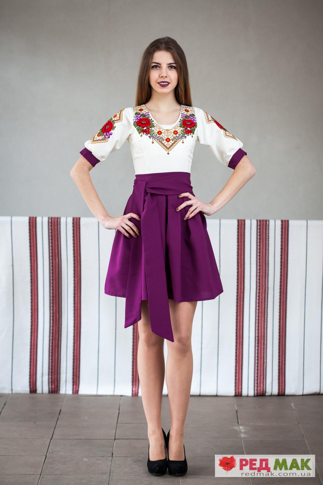 Фіолетове вишите плаття з квітково-геометричною вишивкою eb8669598a7da