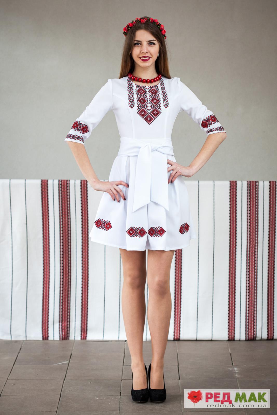 75116503a5c9e1 Вишита біла сукня з кишеньками та двома поясами
