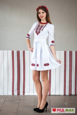 """Вишита біла сукня з кишеньками та двома поясами """"Писанка"""""""