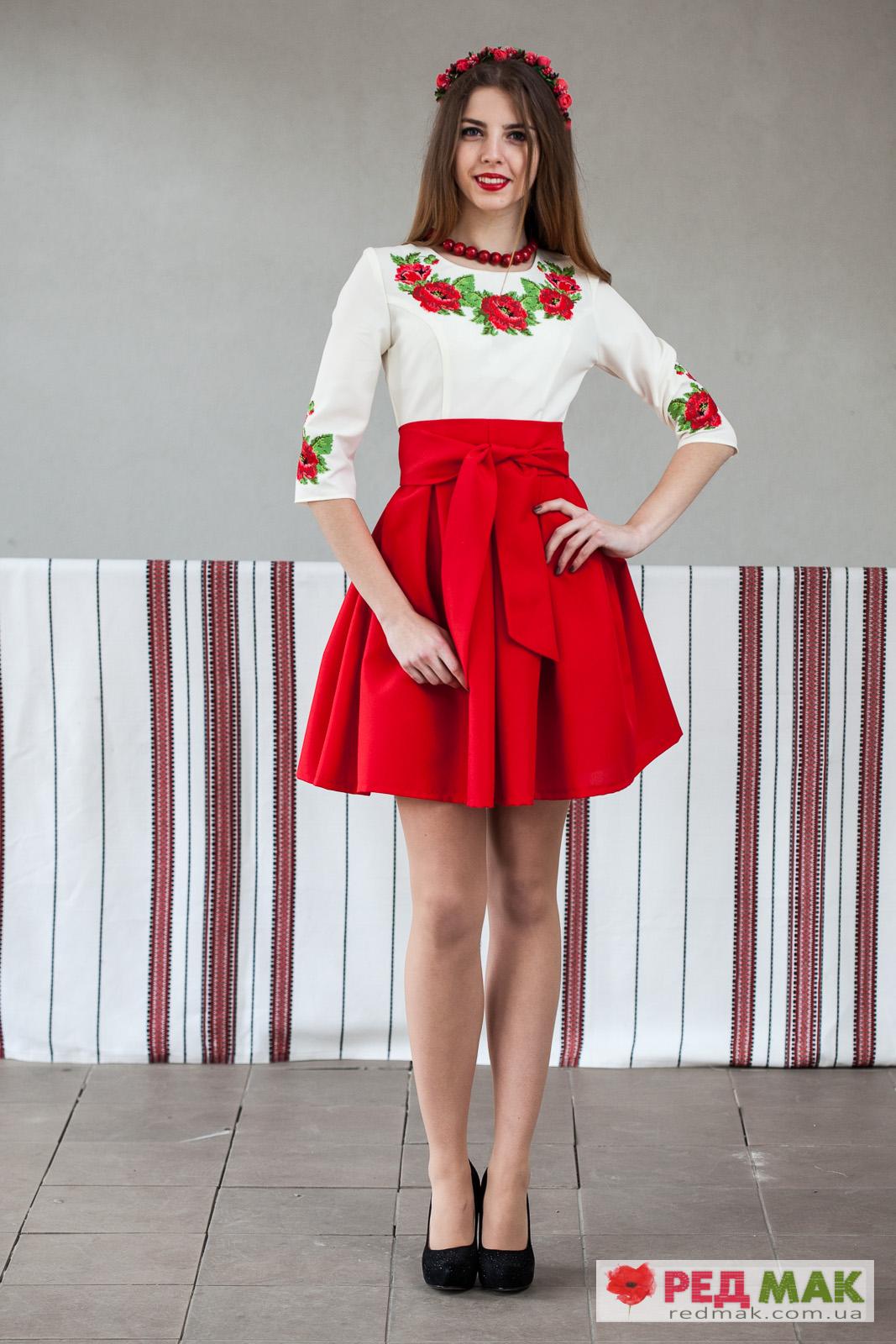 9aba4a72da8117 Червоне плаття з кишенями і вишитими трояндами