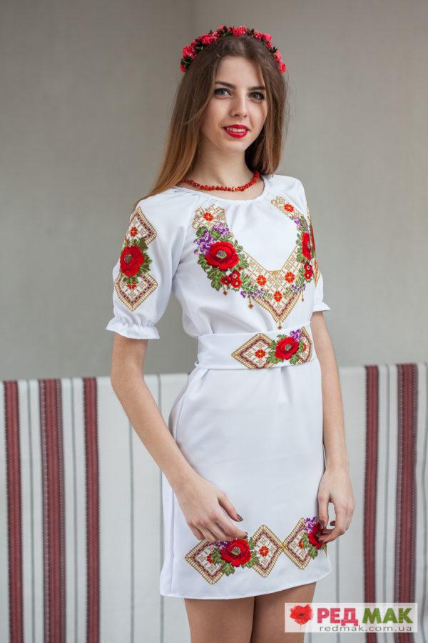 """Біле плаття з квітковим і геометричним візерунком та вишитим поясом """"Весна"""""""