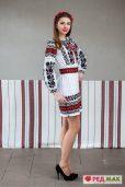 """Біла сукня з домотканого полотна з вишивкою у традиційному борщівському стилі """"Борщівка"""""""