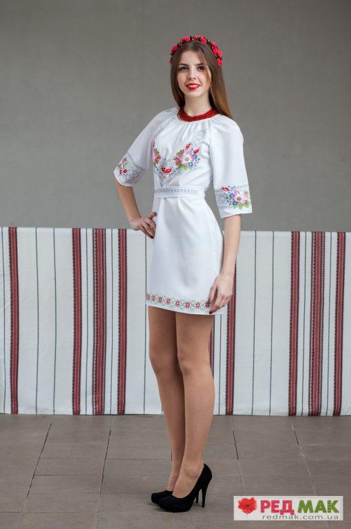 """Біле плаття з поясом та квітковою-геометричною вишивкою """"Шипшина"""""""