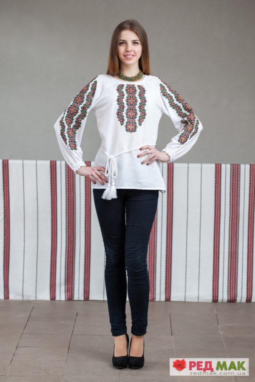 Біла сорочка на довгий рукав з барвистим геометричним візерунком