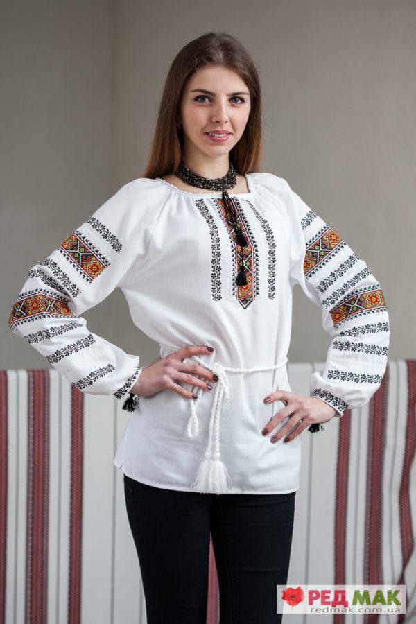 Біла сорочка з довгим рукавом та геометричним орнаментом