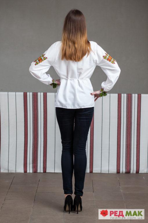 """Біла сорочка з яскравою геометричною вишивкою """"Американка"""""""
