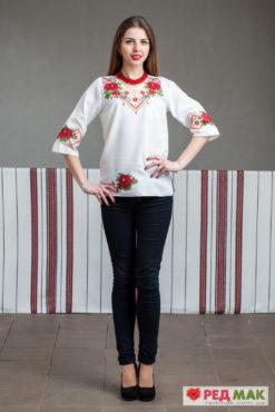 """Біла сорочка з червоною квітково-геометричною вишивкою """"Трояндовий сад"""""""