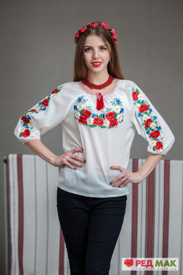 """Біла шифонова сорочка з вишивкою польових квітів """"Квіткова поляна"""""""