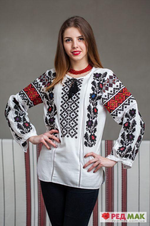 """Біла сорочка вишита традиційним борщівським орнаментом """"Борщівка"""""""