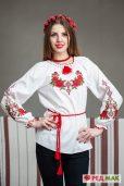 """Біла підліткова сорочка з червоними трояндами """"Панянка"""""""