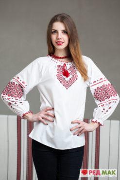 """Біла підліткова сорочка з червони орнаментом """"Тетянка"""""""