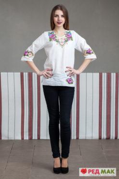 """Біла сорочка з фіолетовою квітково-геометричною вишивкою """"Трояндовий сад"""""""