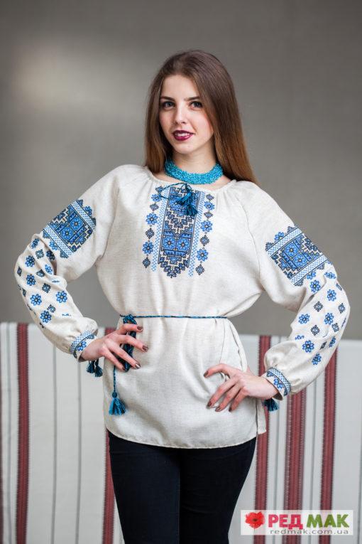 """Сіра сорочка з блакитною вишивкою """"Волошка"""""""