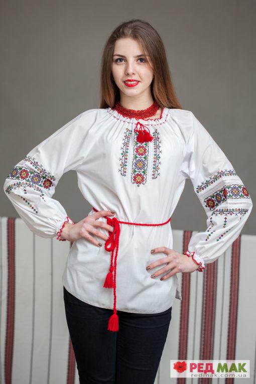 """Біла підліткова сорочка з кольоровим геометричним візерунком """"Подолянка"""""""