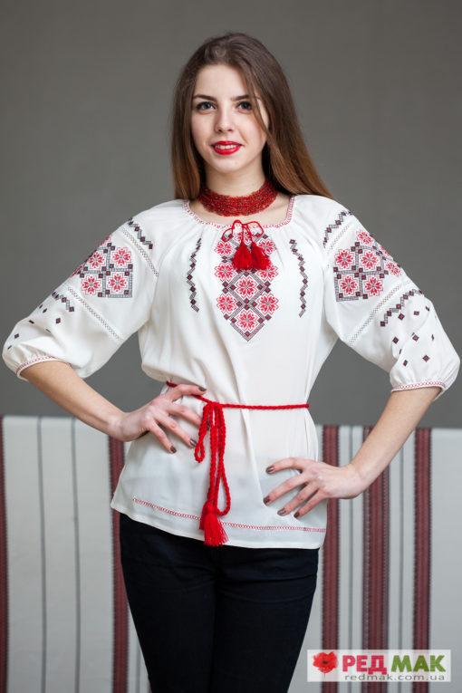 """Біла сорочка з червоною геометричною вишивкою """"Катерина"""""""