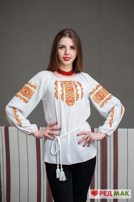 Біла шифонова сорочка з терракотовою вишивкою