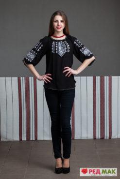 Чорна шифонова сорочка з біло-сірою вишивкою